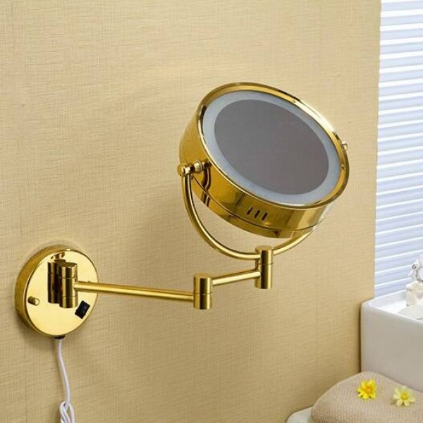 "Bath Mirror 8"" Round Wall Cosmetic Mirrors 3x 1x Magnifying Mirrors LED Brass Golden Folding Bathroom Makeup Light Mirror 1559"