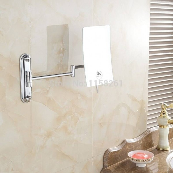 Bath Mirrors 3 Magnifying Mirrors Wall Wounted Cosmetic Makeup Mirror Brass Chrome Square Beauty Folding Bathroom Mirror 1303