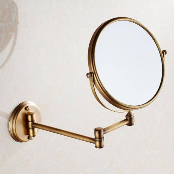 """Bath Mirrors 3 x Magnifying Mirror of Bathroom Makeup Mirror Folding Shave 8"""" Dual Side Antique Brass Wall Round Mirrors 9136"""