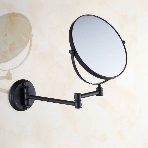 Bath Mirrors 8' Round Wall Makeup Mirror 3X1 Magnifying Mirrors Black Brass Double Side Beauty 360 Rotate Bathroom Mirror 1548