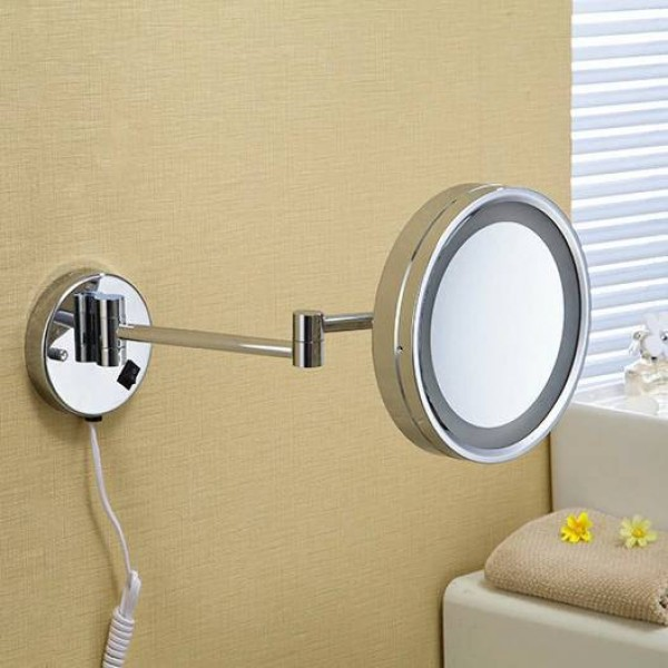 """Bath Mirrors 8""""Wall Mounted Round One Side Bathroom Mirror LED Makeup Cosmetic Mirror Magnifying Lady's Private Mirror 2098"""