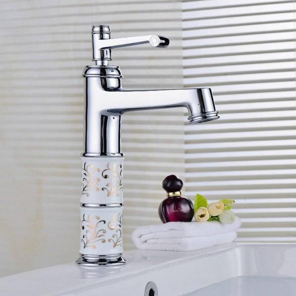Bathroom Basin Faucets Chrome Polished Mixer Brass Porcelain Mixer Tap Hot Cold Faucet 9012CP