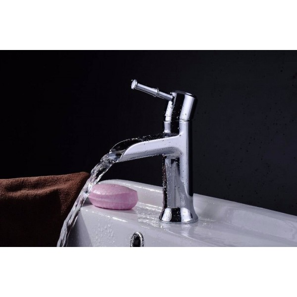 Bathroom faucets Basin Sink Mixer Tap Chromed Polished Washbasin brass waterfall Faucet