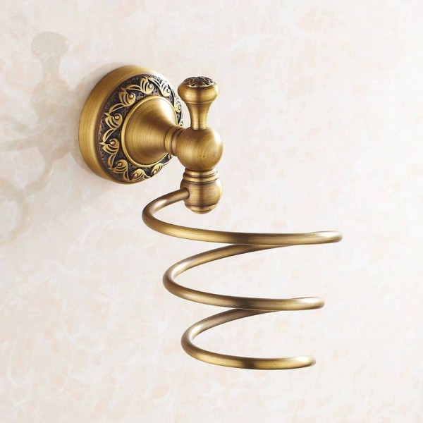 Bathroom Shelves Antique Brass Wall Mount Hair Dryer Rack Hair Dryer Bathroom Shelf Holder Bathroom Fittings Brush Holder 3720F