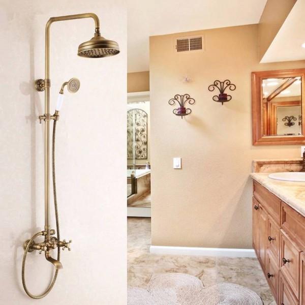 Bathroom Shower Faucet Set Antique Bathtub Faucets Mixer tap Bath Shower Taps Waterfall Shower Head Wall Mixer Torneira