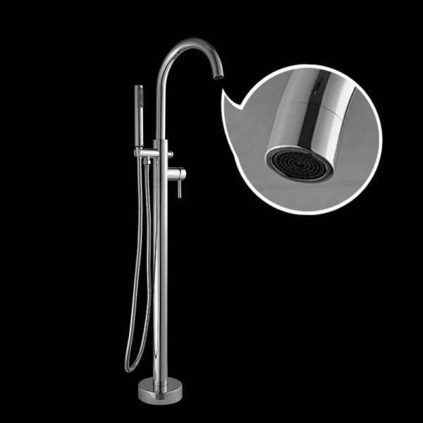 Bathtub Faucet Brass Chrome Floor Mount Bathroom Faucet Swivel Spout Single Handle Tub Filler Hand Shower Sprayer Mixer Tap 6022