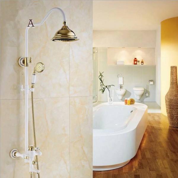 Bathtub Faucet Brass Golden White Paint Bathroom Shower Faucet Wall Mount Round Rainfall Shower Head Handheld Bath Tap YLS5870-E