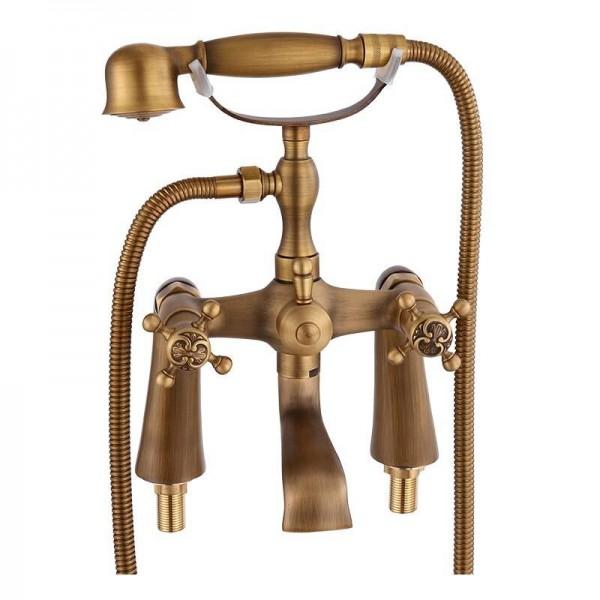Bathtub Faucets Antique Brass Material Bathroom Shower Set Bathtub Mounted Mixer Tap Bathroom Faucet Dual Holder Crane HJ-6053