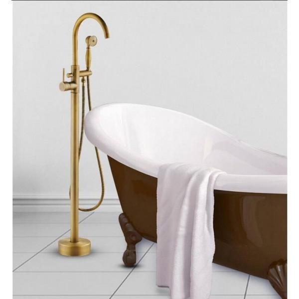 Bathtub Faucets Antique Color Floor Mounted Free Standing Bathtub Faucet Shower Set Tub Filler Mixer Tap For Bathroom HK-8663