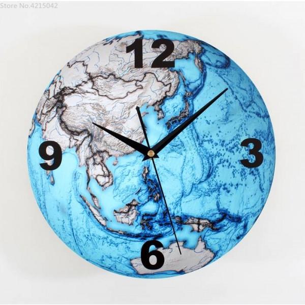Beautiful Blue Earth 3D Wall Clocks Fashion Creative Arts Planet Earth Wall Clock Bell Map Wall Watch Wall Clock Modern Design