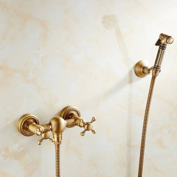 Bidet Faucet Antique Solid Brass Tube Cold and Hot Water Shower Mixer with Bidet Shower Head Double Handle Tap Crane 9271F