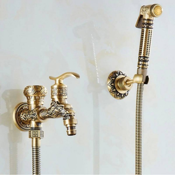 Bidet Faucets Antique Brass Wall Mounted Bathroom Hygienic Shower Sprayer Water Faucet Airbrush Toilet Washing Machine Tap WF556