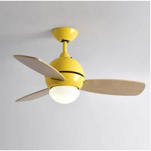 Modern simple colorful ceiling fan with light macaron kids room living room LED three PCS Wood art fan leaf with light