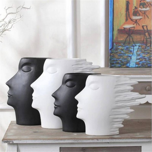Black and white series of head Abstract character Scandinavian minimalist home decoration wine cabinet decorative Decoration