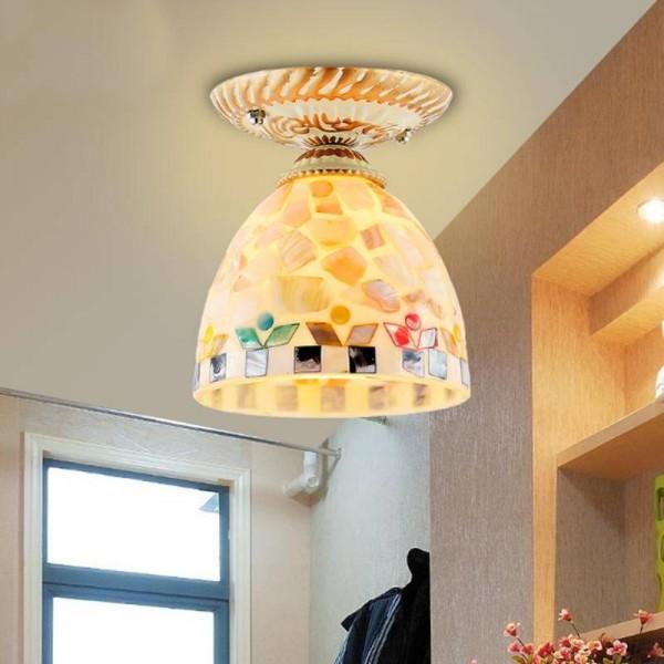 Bohemian Glass ceiling lights European style garden wind bedroom lamps aisle balcony Led lamp porch light Home Lighting