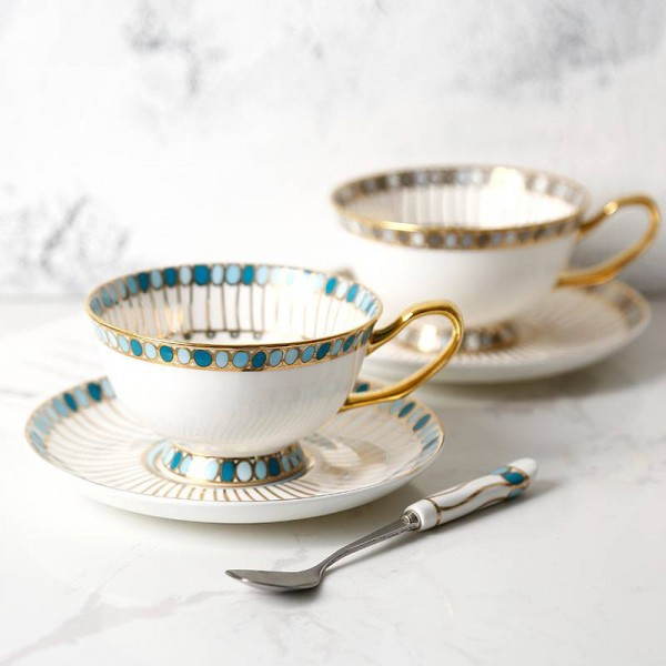 Bone coffee cup Hand-painted gemstone pattern gold edge European cup and saucer set English tea afternoon tea cup set
