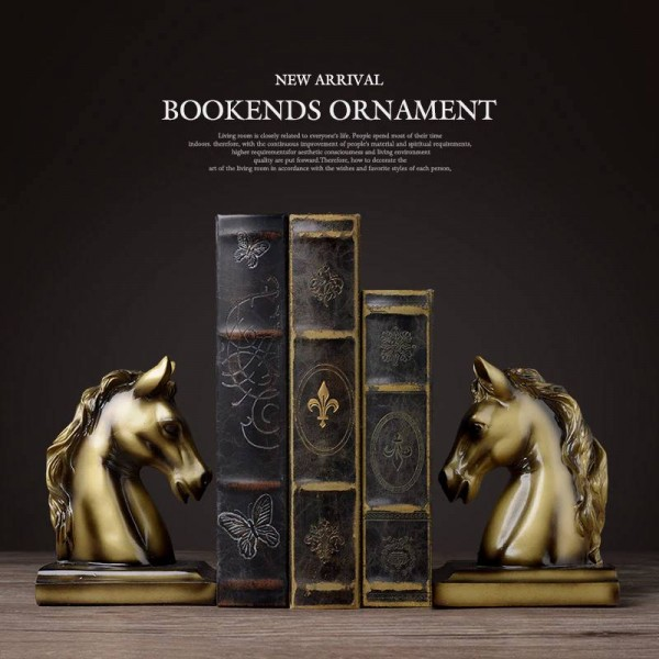 Bookends resin horse craft Vintage study room desk decor ornaments gift brass horse elephant head animal figurine book end
