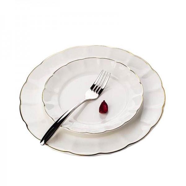 Brief Ceramic Bone Gold Border Spaghetti Omelette Plate Creative Dinnerware Handmade Steak Dish Cake Pastry Saucer Gifts