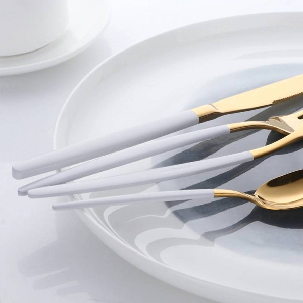 16-Piece Stylish Flatware White Handle and Gold Stainless Steel Cutlery Sets Service For 4 Including Fork Spoon Knife
