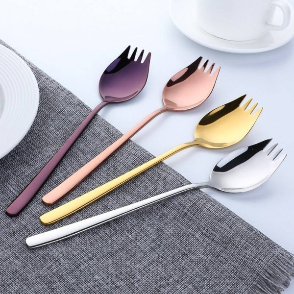 18/10 Stainless Steel Sporks for Everyday Household Use Ice Cream Spoon & Salad Forks Fruit Appetizer Dessert SUS304