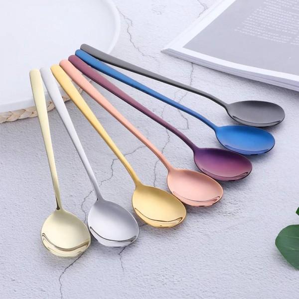 21cm Stainless Steel Dinner Spoon 6-Piece Colorful Rainbow Long Handle Ice Cream Dessert Tea Coffee Spoon Flatware
