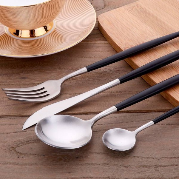 24-Piece Stainless Steel Flatware Set Service for 6 Elegant House Kitchen Restaurant Hotel Stylish Matte Cutlery