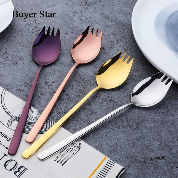 4-Piece Colorful Long Handle Spork with Mirror Polished Bowl 304 Stainless Steel Appetizer Dessert Spoon Salad Fork