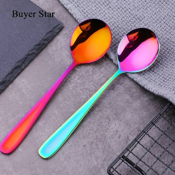 4Pcs/Set Colorful Coffee Spoon Stainless Steel 9 Colors Korean Mixing Spoons Set Dessert Long Ice Kitchen Scoop