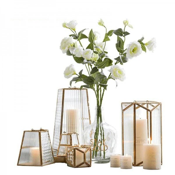 1PCS European Style Candle Holder Geometric Gold / Glass Cover Aromatherapy Candlestick Light Home Garden Hanging Decor Crafts