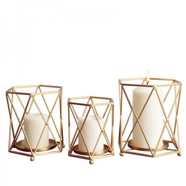 Nordic Style Candle Holder Gold Geometric Metal Iron Art Candle Base Restaurant Party Night Light Decoration Adornment Crafts