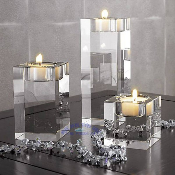 Candlestick Crystal glass mousse square solid crystal home decoration gift Wedding decoration romantic