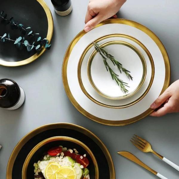 Ceramic Beef Platter Household Breakfast Plate Simple And Creative European Vegetables Platter With Gold Edge Tableware