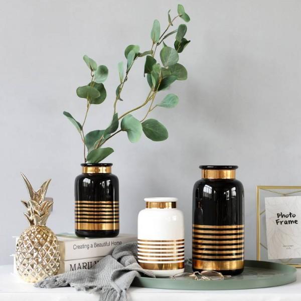Ceramic Vase European Style Simple White Black Gold Luxury Flower Decoration Home Decoration