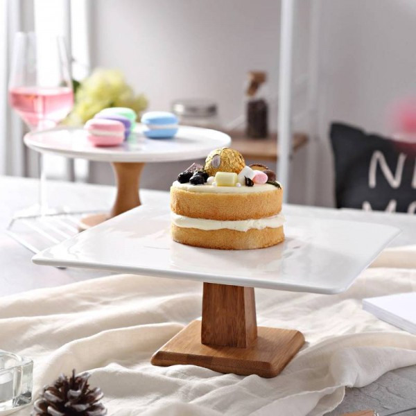 plate High Stand Cake Plate Creative Food Serving Trays Multi-Use Naural Wood DIY cake stand Wedding dessert display stand