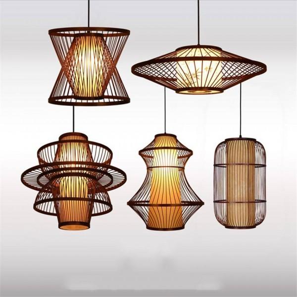 Wood E27 Bulb Pendant Light Lighting Loft Home Interior Decoration Bamboo Wooden Pendant Lamp Luminaire Hanging Lamp