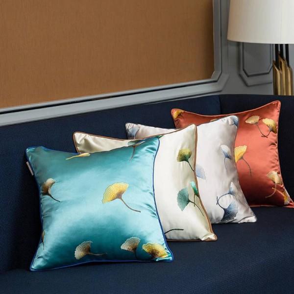 Imitation Silk Cushion Cover Embroidery Leaf Luxury Pillow Cover Throw Pillows Christmas Cojines Decorativos Para Sofa