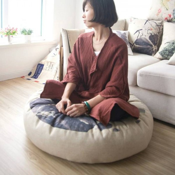 ink lotus Lotus Cushion linen circular queen Futon cushion Seat (thick)tatami Mat yoga meditation cushion 80 * 80 * 15cm