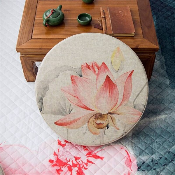 high quality linen fabric round Cushion creative pink lotus pattern cushions Thicken tatami mat yoga seat pad