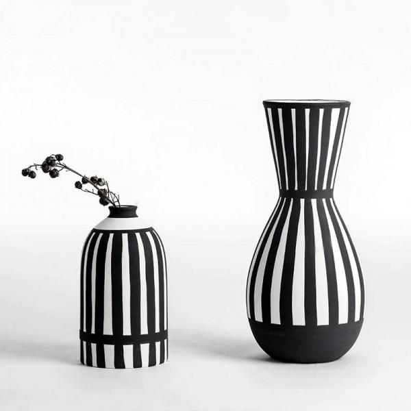 Classic Black White Flower Vase Ceramic Vase For Dried Flowers desktop vase