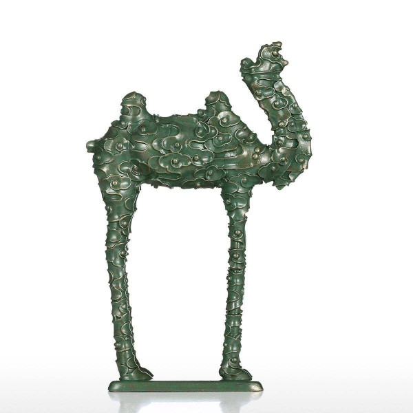 Cloud Pattern Camel Figurine Fiberglass Figurine Home Decor Original Design Green Camel Craft Gift For Home