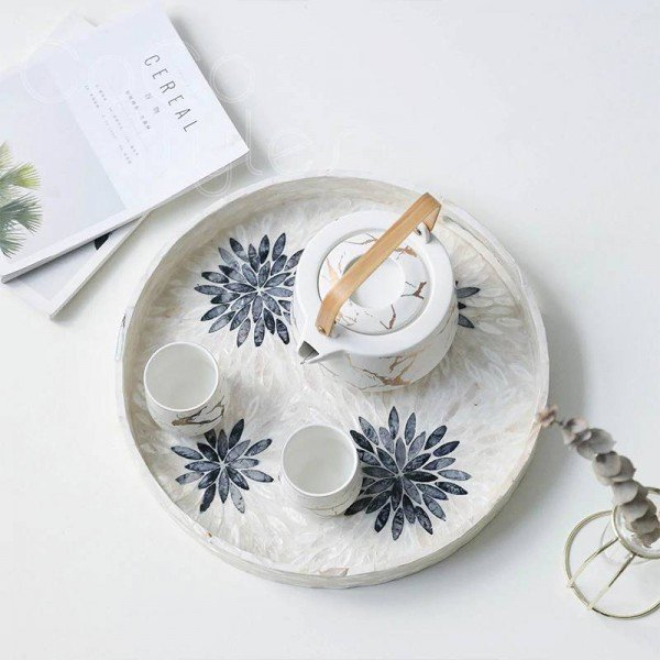 InsFashion gorgeous round colorful shell tray and storage box for japanese style home decor and creative designer