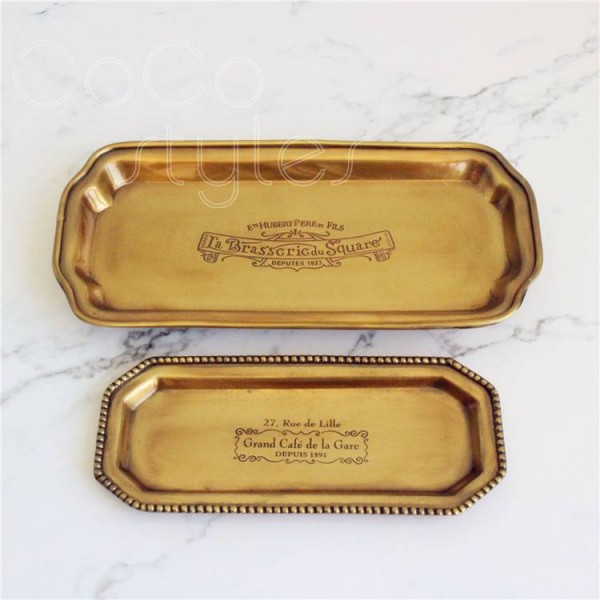 InsFashion luxury handmade brass serving tray for america style home decor and table top storage