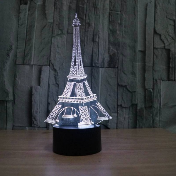 Colorful Eiffel Tower 3D table lamp creative 3D illusion night lights touch switch 7 color gradient deco LED desk lamp as gift