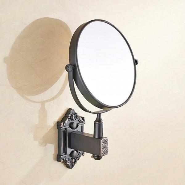 Copper bathroom mirror wall-mounted rotating folding vanity mirror hotel bathroom double-sided mirror LO74157