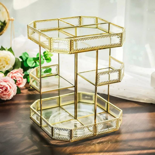 Cosmetics storage dressing table desktop multi-function European metal square cosmetic storage box 360 degree rotation