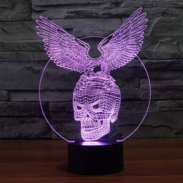 Creative 3D illusion Lamp,Acrylic 7 color changing Eagle&Skull shape LED Night Light usb Atmosphere table Lamp Novelty Lighting