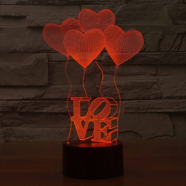 Creative 3D illusion Lamp Colorful Discoloration LED Night Lights 3D Love Heart Acrylic wedding bedroom decor Atmosphere Lamp