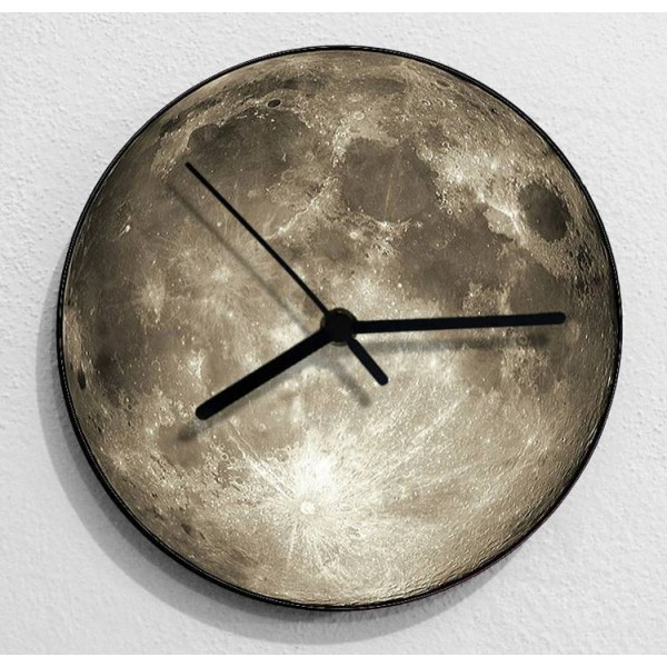 creative 3D Moon wall clock living room bedroom wall hanging watch gray blue moon mute shabby chic clocks
