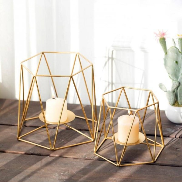 Creative Candle Holder Ins Gold Color Geometric Metal Iron Art Candlestick Romantic Candlelight Dinner Night Light Decoration