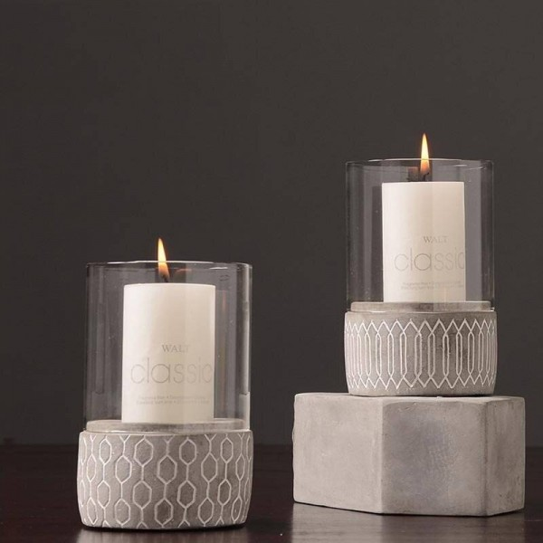 Creative Cement Candle Holder Cafe Candlelight Dinner Night Light Aromatherapy Candle Base Home Decoration Crafts Candlestick